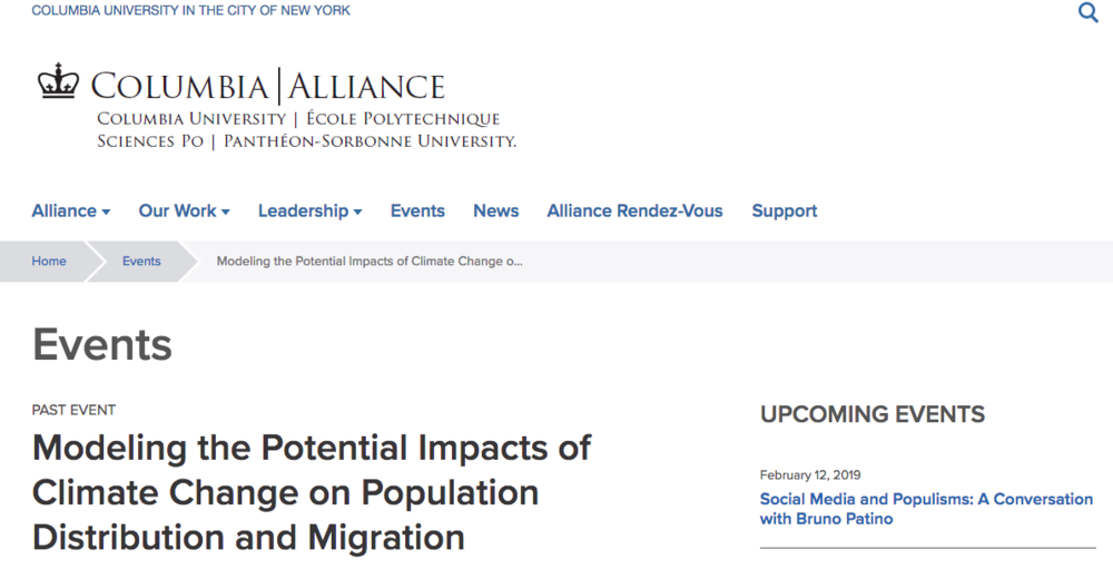 CLIMATE REFUGEES expert panelist at Columbia University's launch of World Bank report, Groundswell: Preparing for Internal Climate Migration -