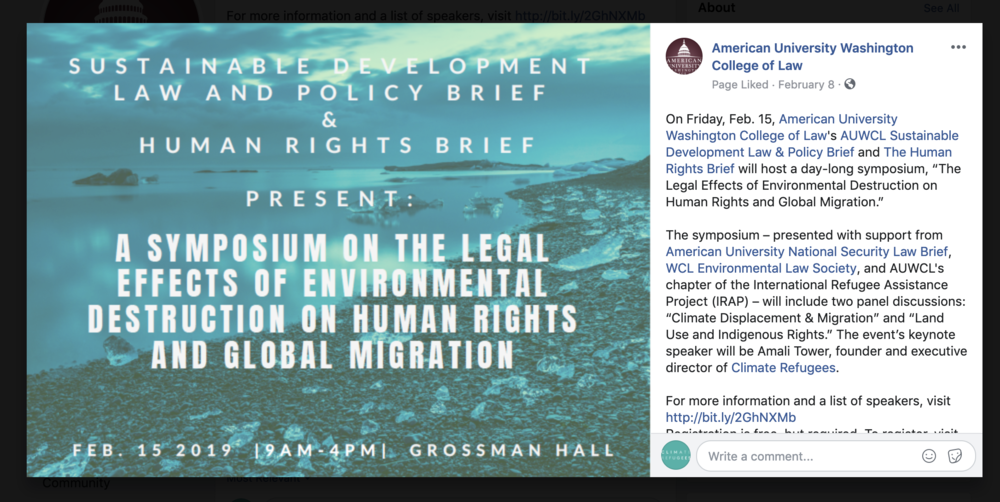 CLIMATE REFUGEES provides keynote at American University Washington College of Law's Sustainable Development Law & Policy Brief - Washington, D.C. February 15, 2019, listen here