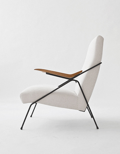 Pierre Guariche; Enameled Metal and Oak Arm Chair, 1950s.