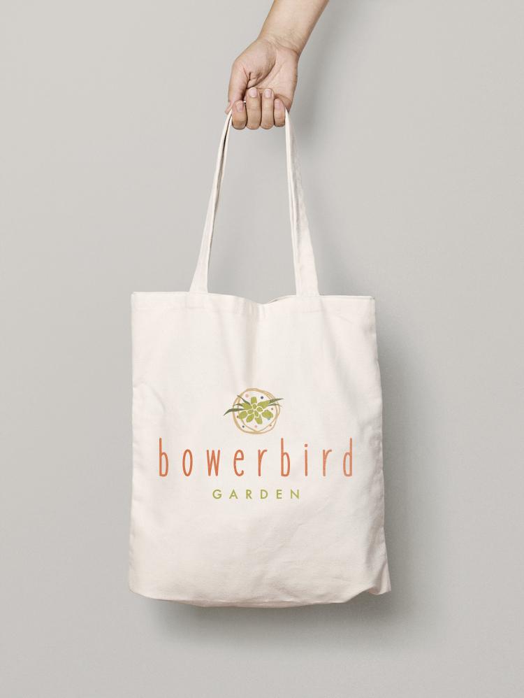 bowerbird garden logo canvas bag tote