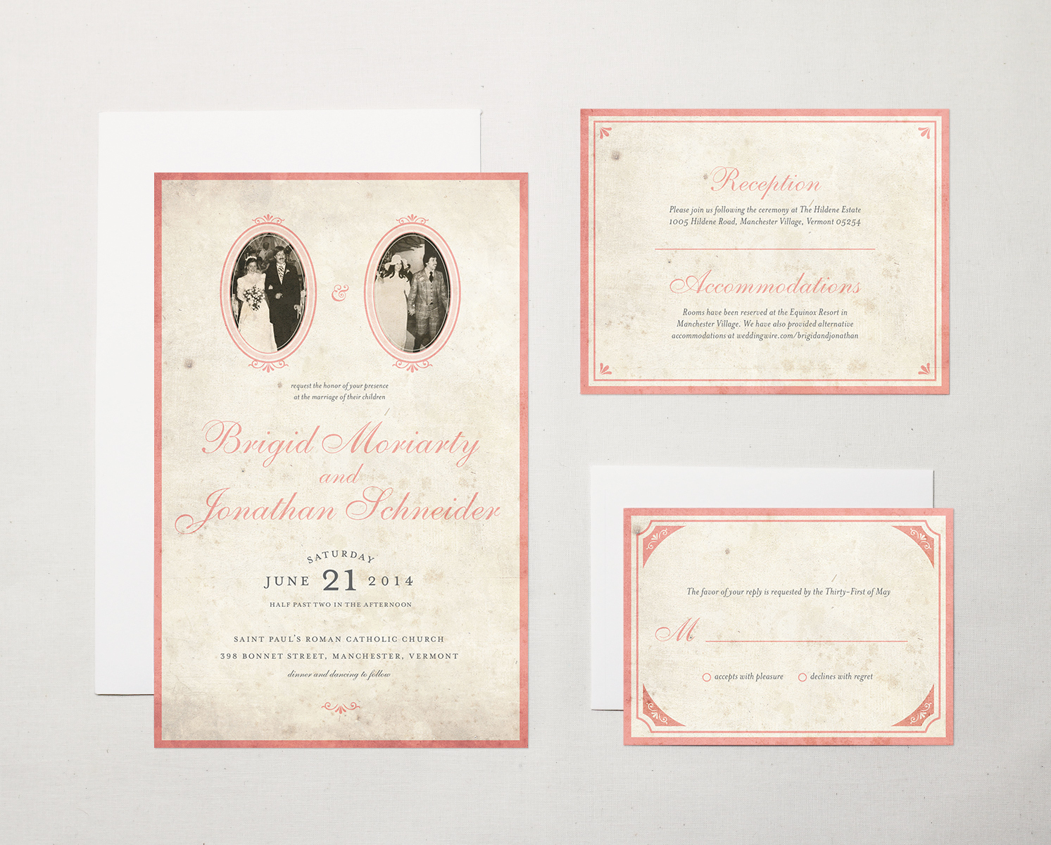 Letter19Design Vintage Photo Wedding Invitation Fronts