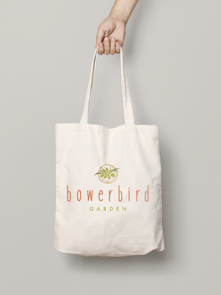 bowerbird garden logo canvas bag tote
