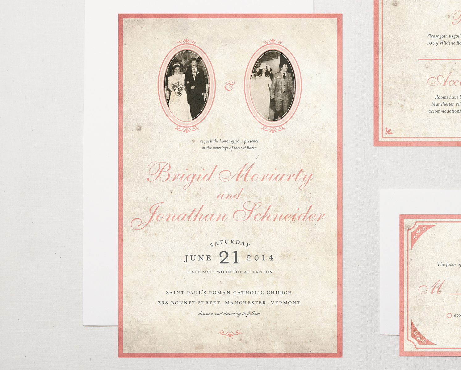 Letter19Design Vintage Photo Wedding Invitation Front