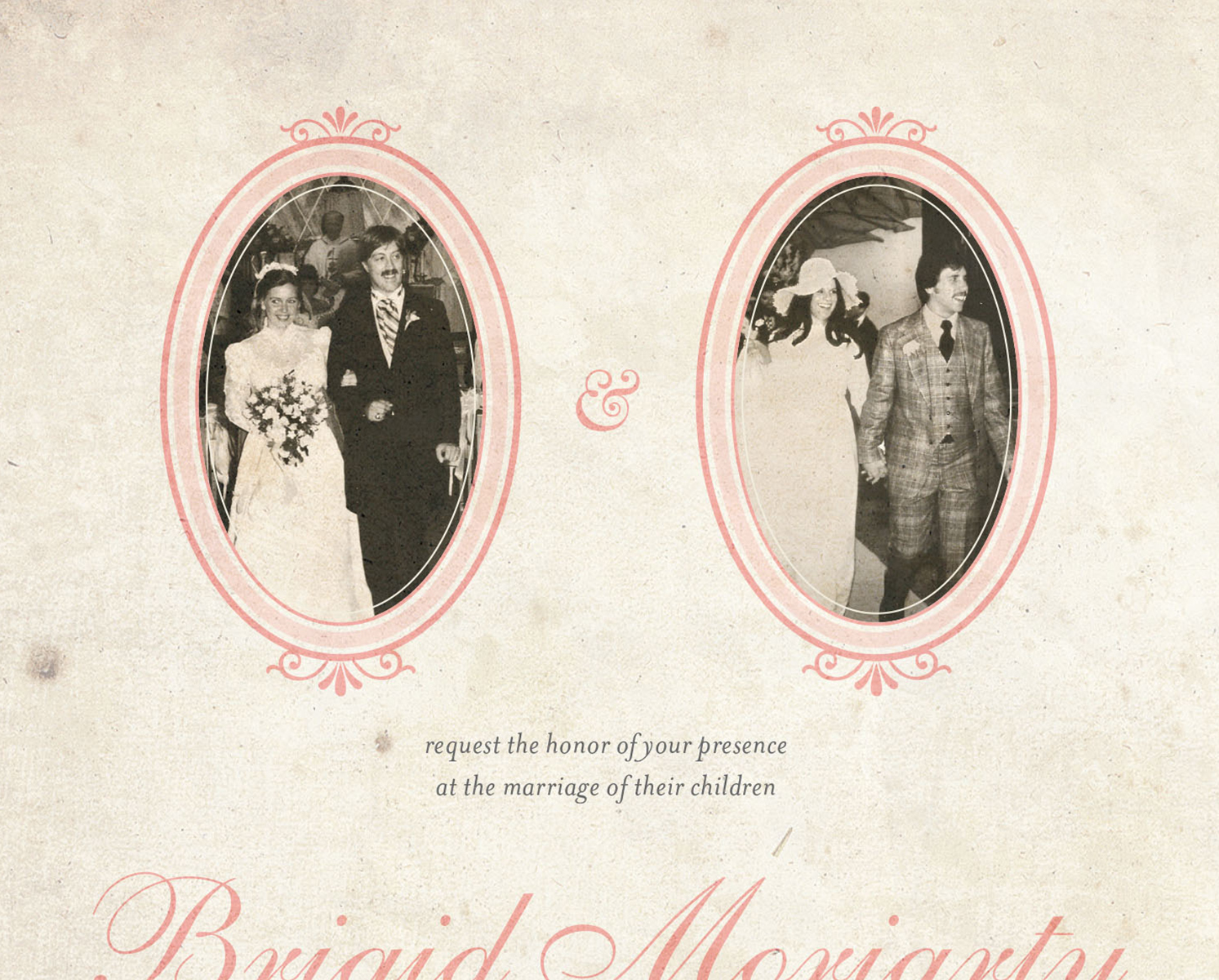 Letter19Design Vintage Photo Wedding Invitation Front Closeup