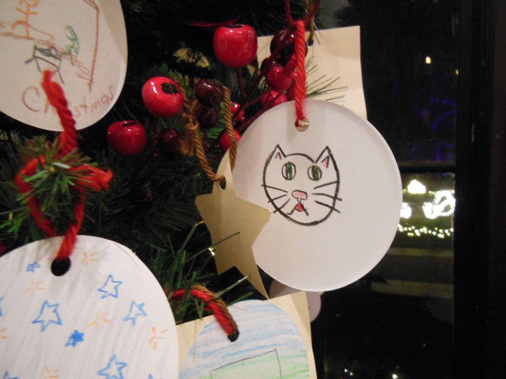 Handmade Christmas tree cat ornament at Henry Shaw's home at Missouri Botanical Garden.