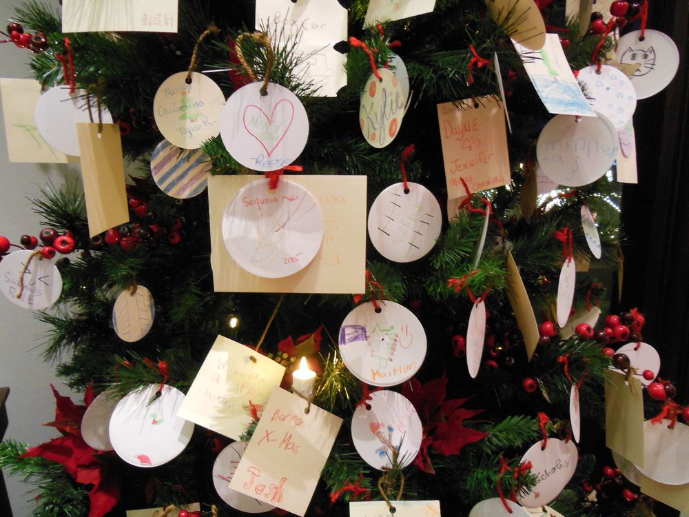 One of the Christmas trees with handmade ornaments at Missouri Botanical Garden.
