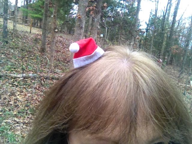 My tiny Santa hat fascinator with a slight bend to give it a little extra panache.