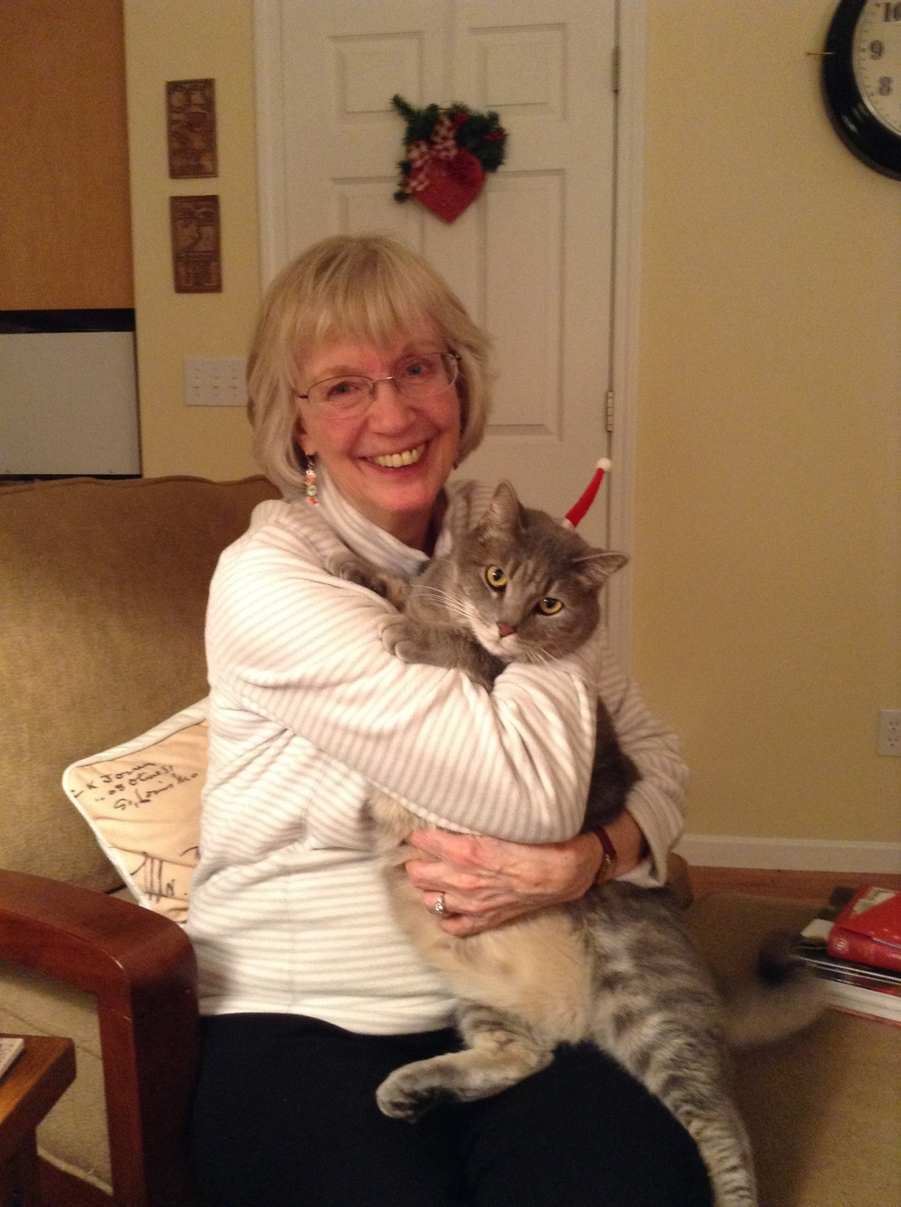Ina Bicknell loans her tiny Santa fascinator to her cat Oscar.