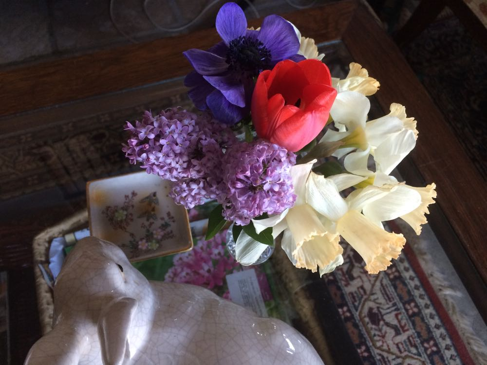 One of the fresh flower spring bouquets I have on my den coffee table.