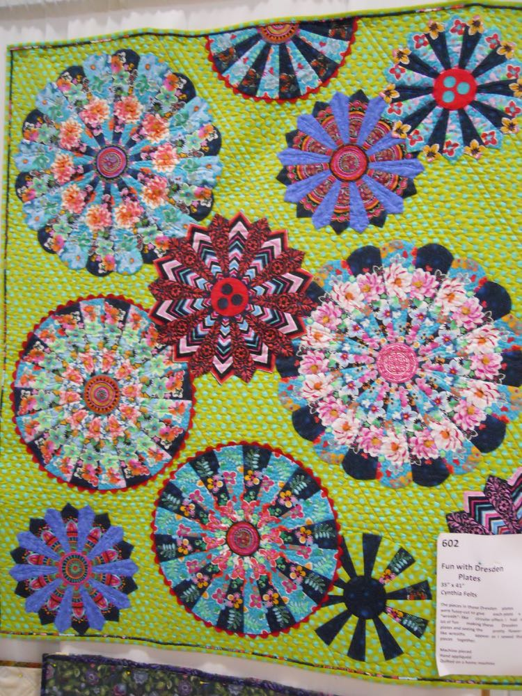 """This handmade quilt was titled """"Fun with Dresden Plates"""" by Cynthia Felts."""