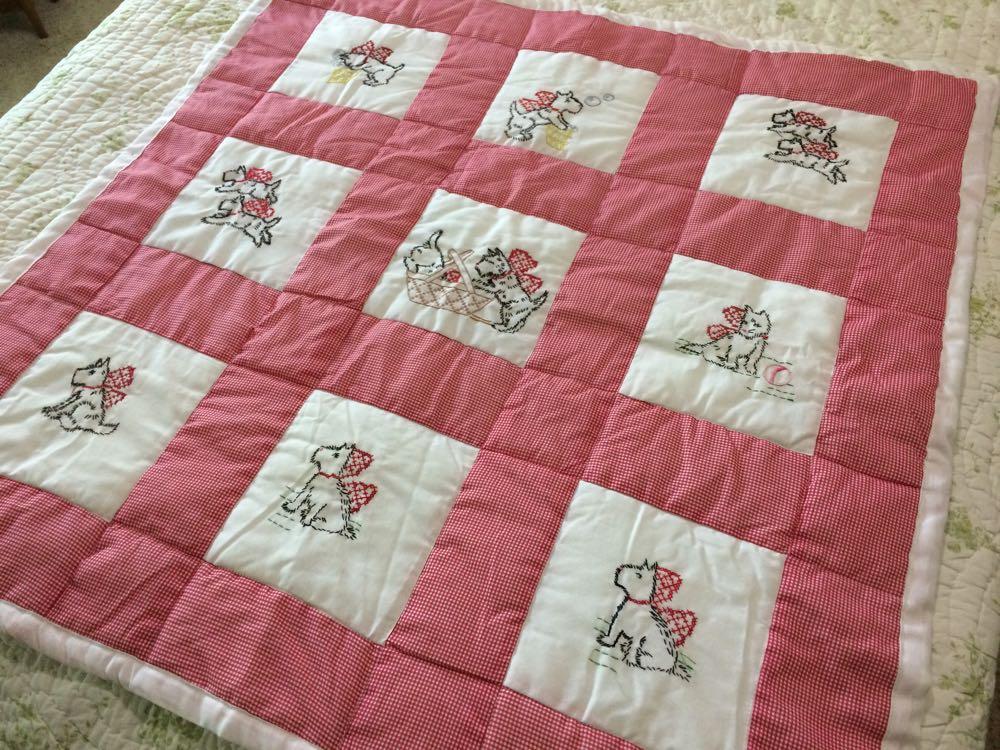 Scottie Dog Mischief Baby Crib Quilt was hand embroidered and hand made in Missouri, USA.