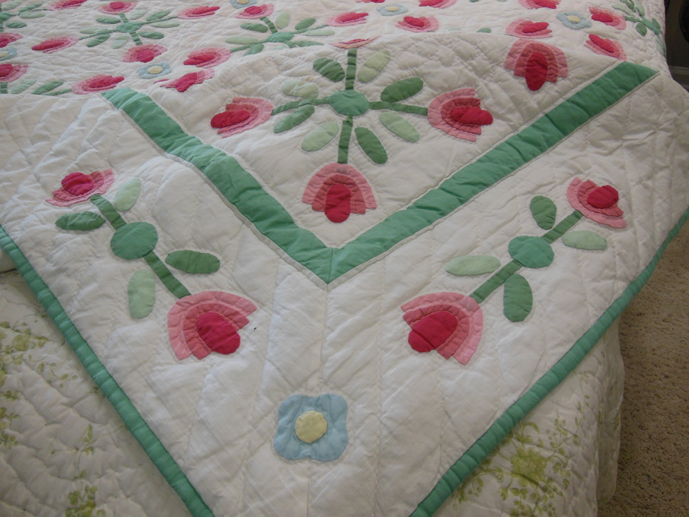 A sweet blue applique flowers finished a corner of Pink Applique Tulips Quilt