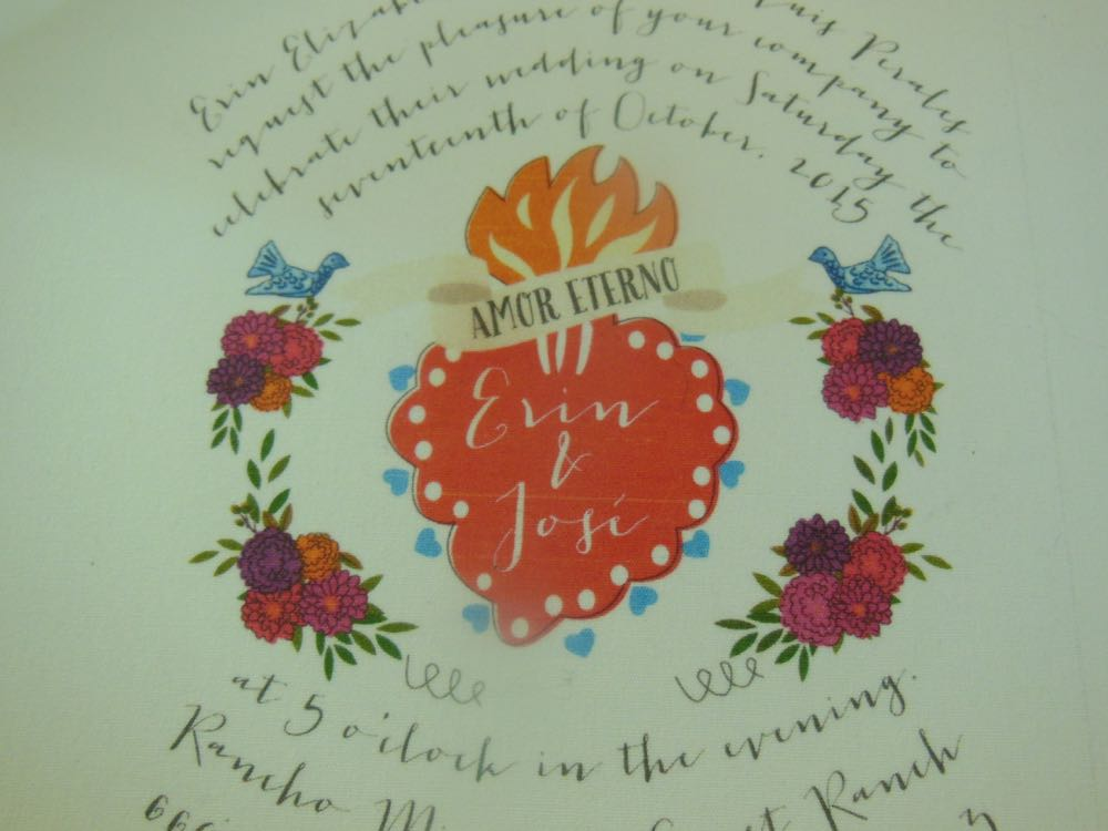 A close up of the design of this charming wedding invitation we printed on muslin fabric.