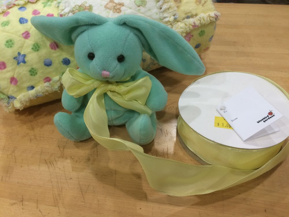 Now the rabbit toy is modeling a new ribbon option, a yellow ribbon to match the baby quilt.