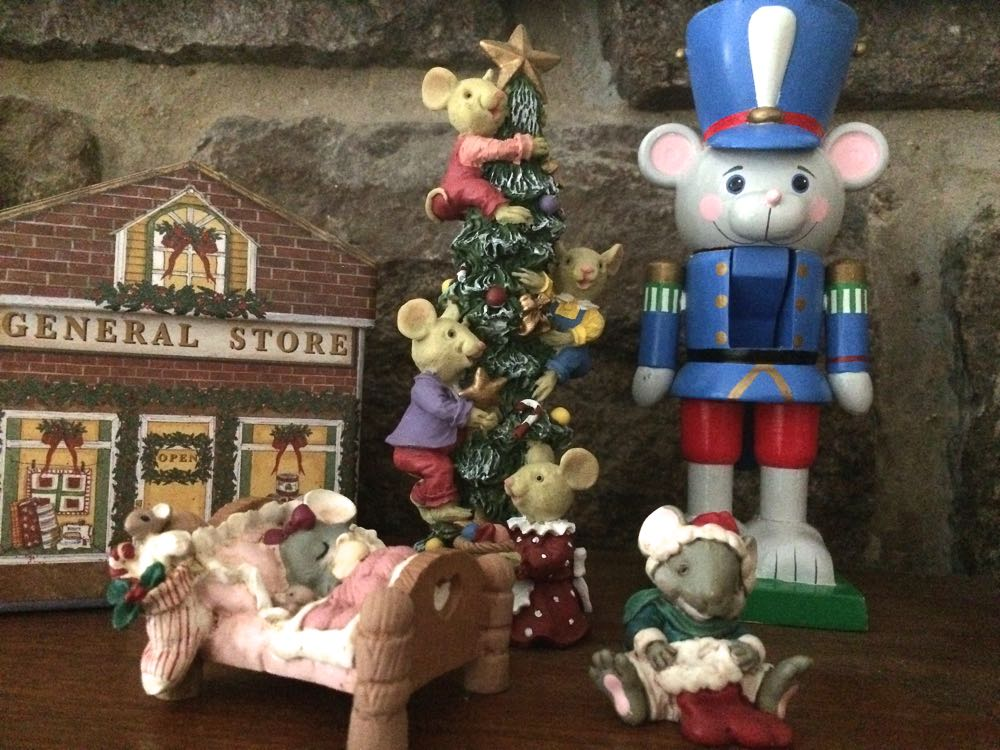 The little girl mouse in bed (left) was a $1.99 purchase in Christmas 2015 with a dear friend.