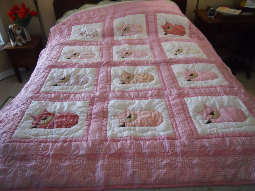 Pink sleeping cats throw makes a good gift for cat-loving girls.