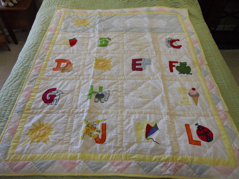 New ABC in Clouds Baby Crib Quilt now available at Bluebird Gardens.
