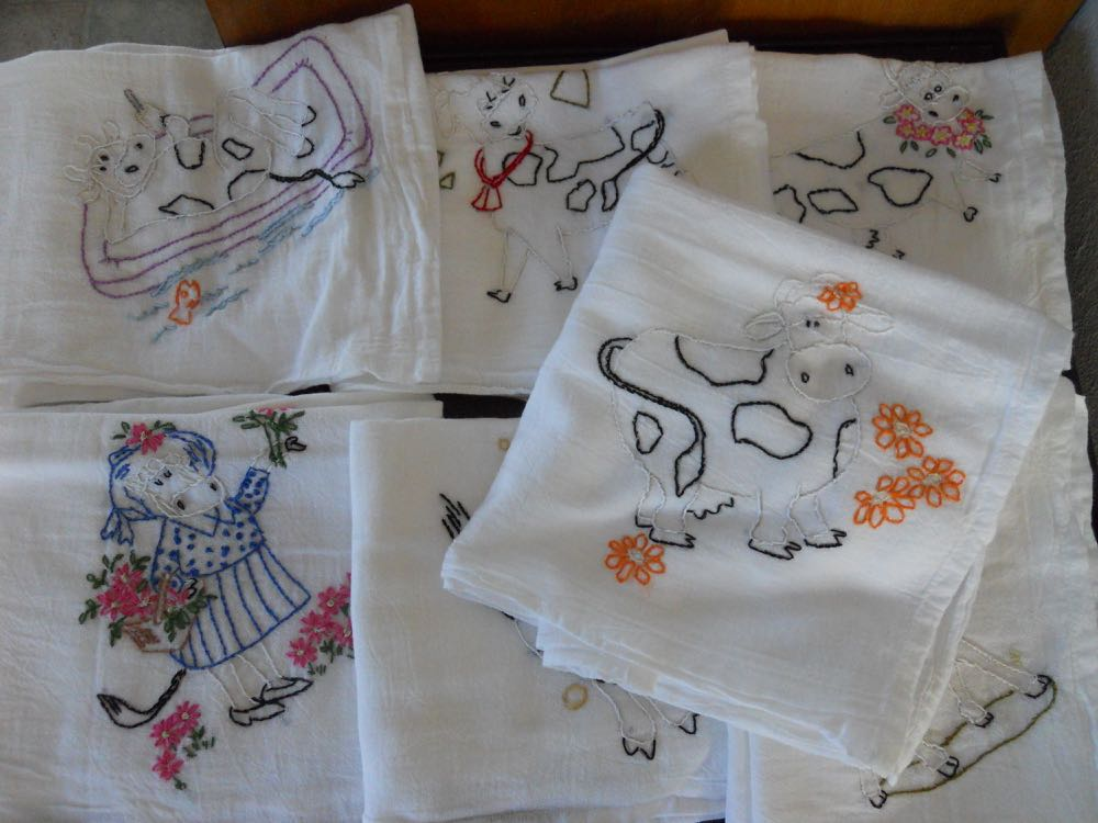 Embroidered Cows Kitchen Dish Towels from Bluebird Gardens.