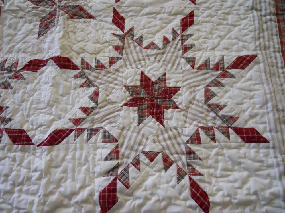 Simple but elegant, the feathered star patchwork pattern is pretty in the single block.