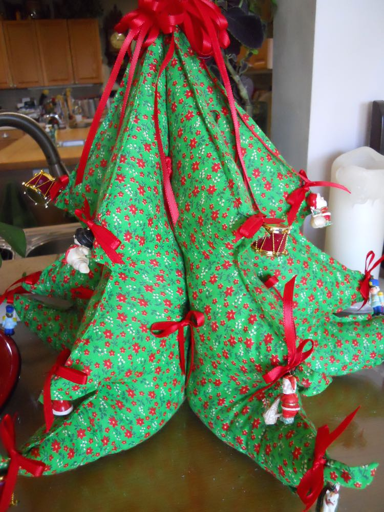 I found this fabric Christmas tree a couple of years ago at a summer yard sale.