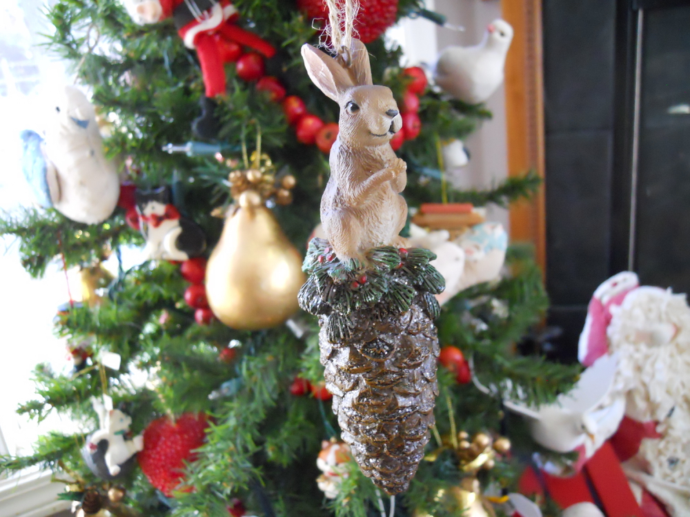This rabbit on a pine cone is the latest addition to my little Christmas tree this year.