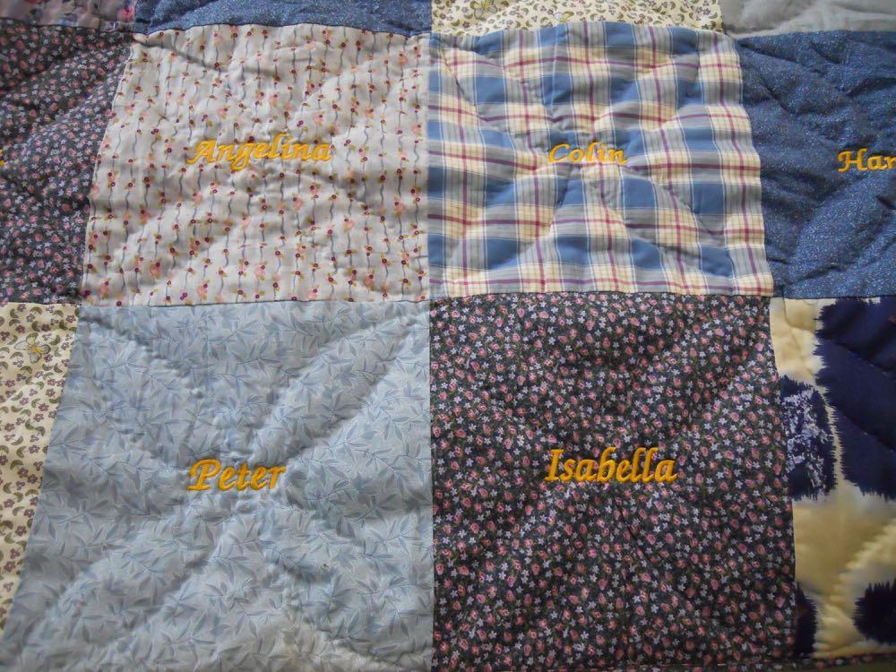 Blue Blocks handmade quilt throw custom embroidered blocks.