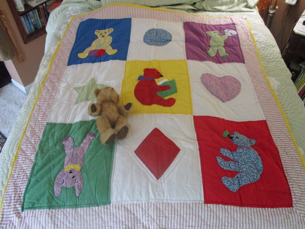 Finally found the right bear to go with Beary Fun Throw Quilt Wall Hanging.
