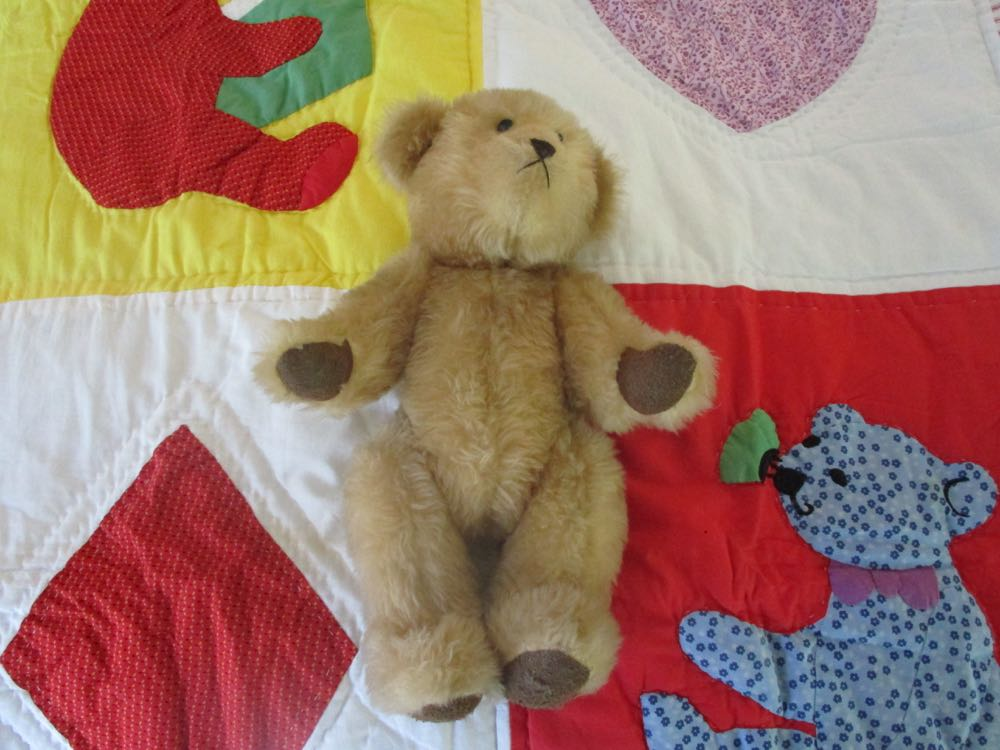 See how much this bear looks like the one in the quilt? Fun!