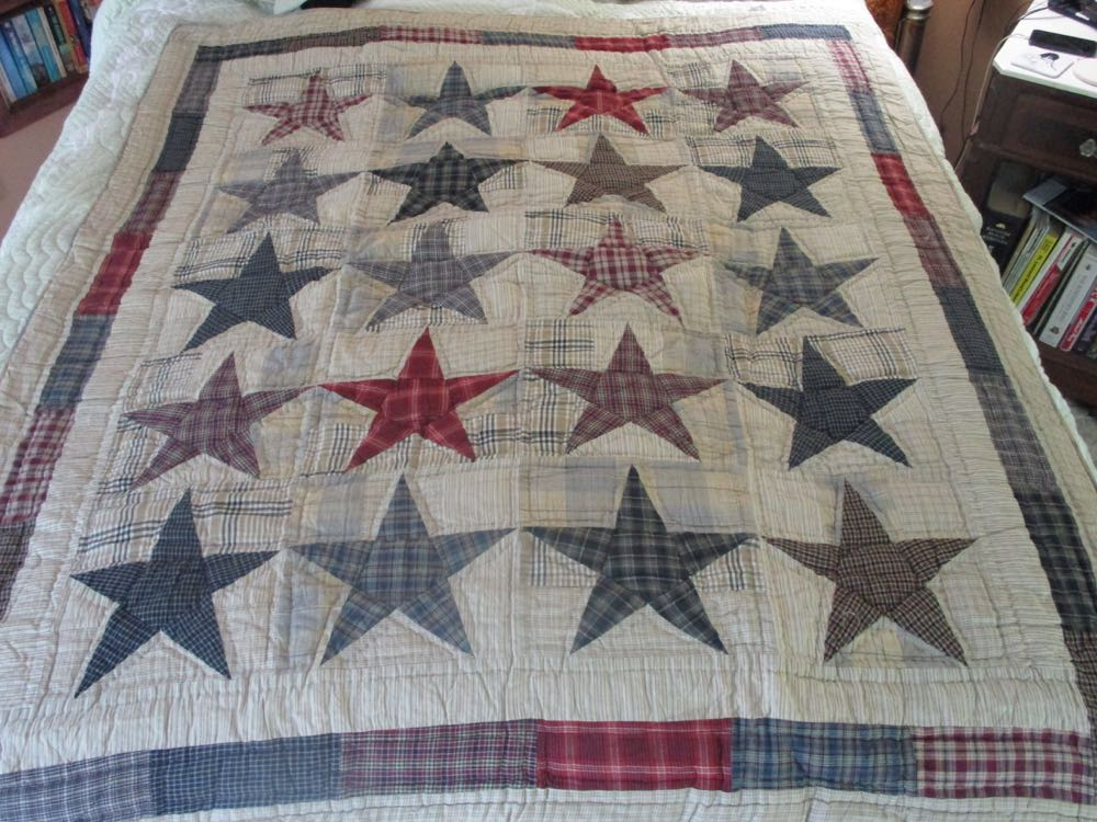 Each of these stars, and border bars, can be personalized with custom embroidery.
