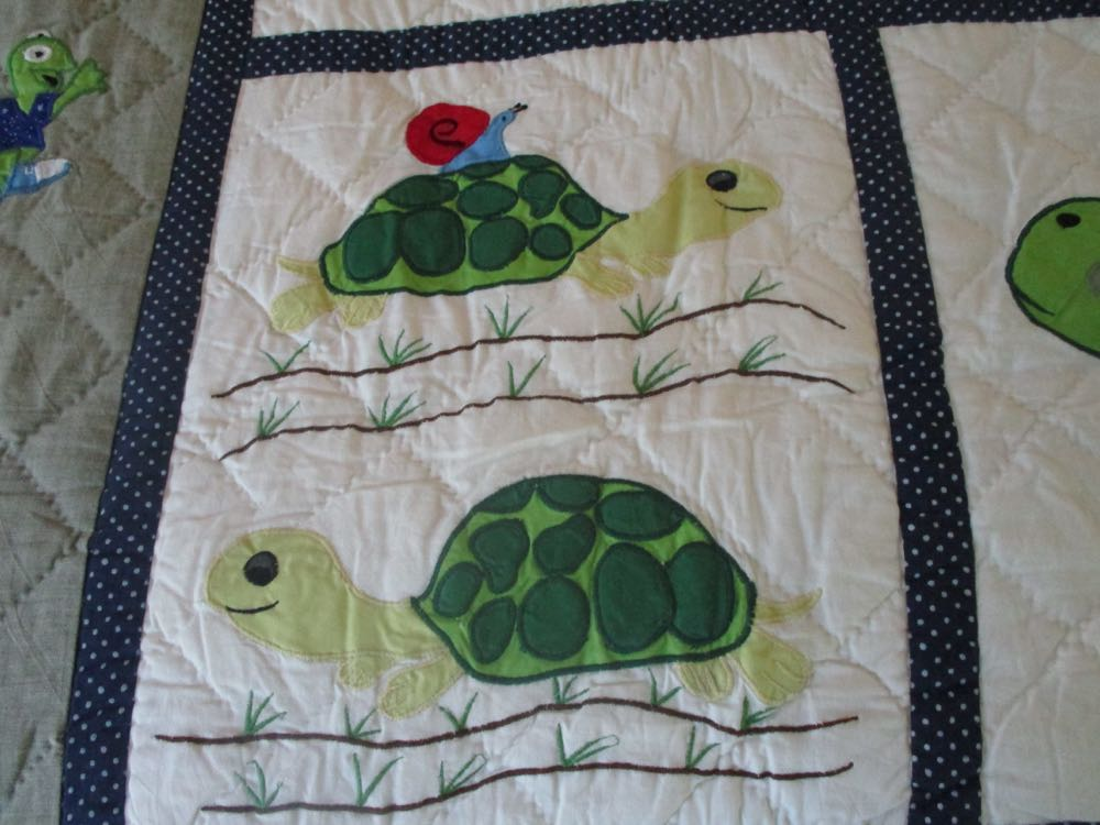 Snail goes for a ride on the back of the turtle shell in another wonderful detailed quilt block.