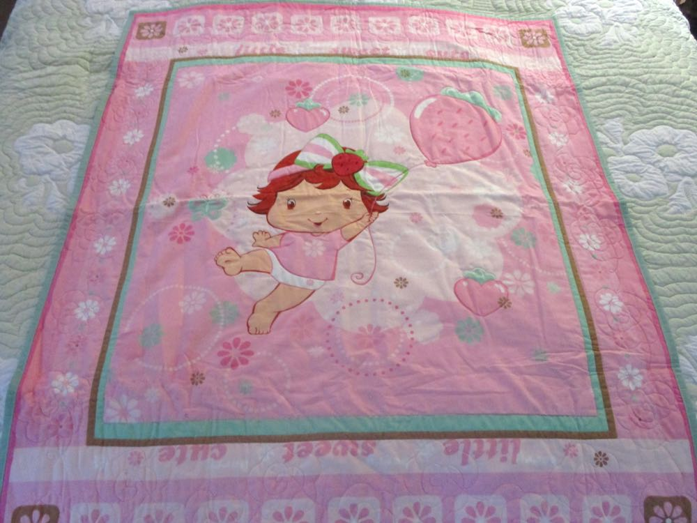 One of our Baby Strawberry Shortcake Baby Crib Quilts ready to ship.