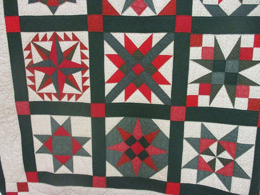 Sampler quilts feature a different design in every quilt block.