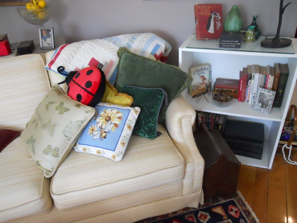 The sofa behind the chair also has a small white bookcase with a selection of favorite books.