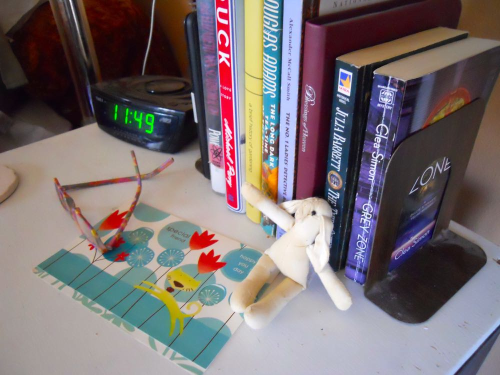 "Reading glasses, a card for a book mark and ""Bun Bun"" the cat toy that often gets moves."