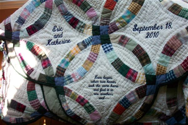Here is another personalized country double wedding ring quilt with a special quote.