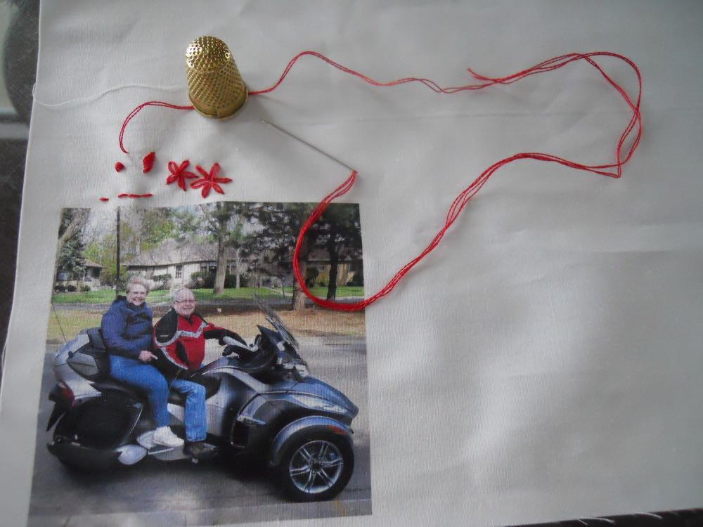 I quickly and easily added embroidery to one of our printed custom photo fabric blocks.