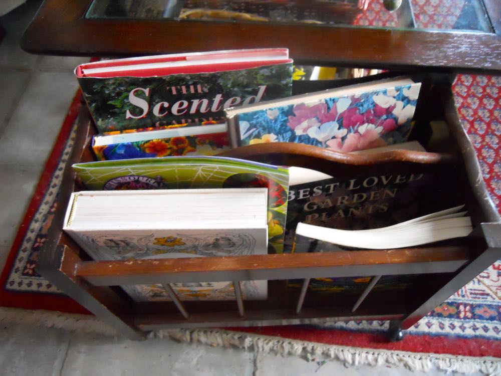 An old wood magazine rack works better to hold books slated for closer study.