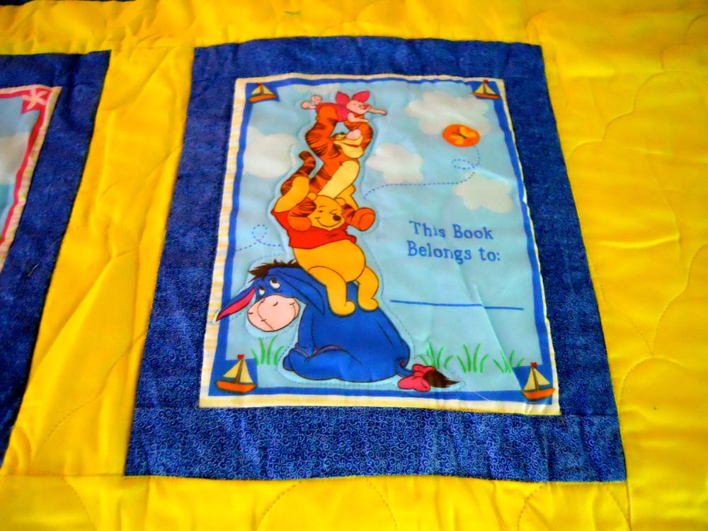 This quilt block has an easy spot to easily personalize this charming Pooh Bear baby quilt