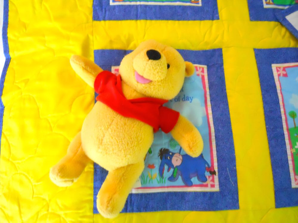 Pooh Bear rattle matches this Pooh Adventure Baby Quilt Gift set, ready for hugs.