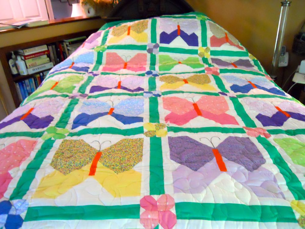 This one of a kind butterfly quilt combines old-fashioned with current designs. (Photo by Charlotte Ekker Wiggins)