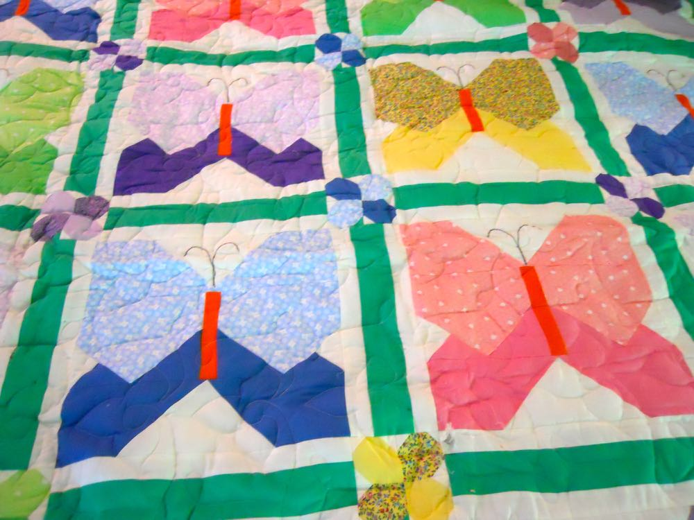 A close up of the butterfly quilt blocks and flower corner blocks. (Photo by Charlotte Ekker Wiggins)