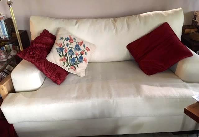 This is my new old love seat with a solid bottom cushion and solid back. (Photo by Charlotte Ekker Wiggins)