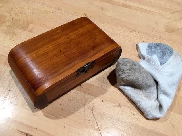 Finished polishing the scratched cedar wood box. (Photo by Charlotte Ekker Wiggins)