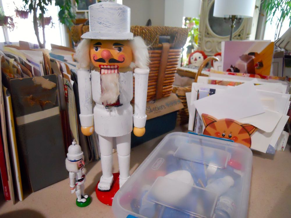 Nutcrackers painted all white so I can start over with their details. (Photo by Charlotte Ekker Wiggins)