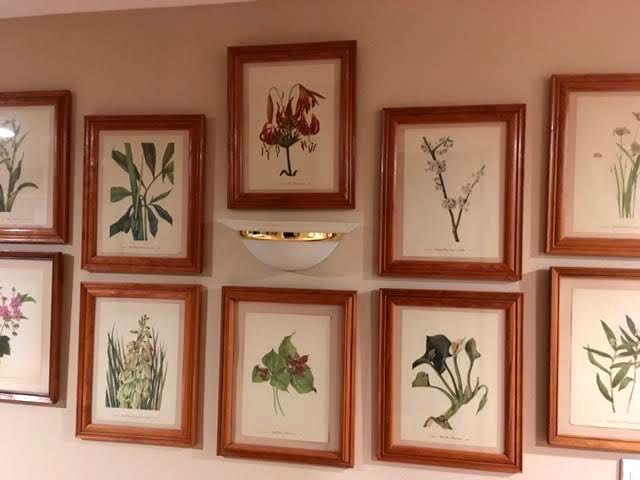 Framed flower prints now in my basement hallway. (Photo by Charlotte Ekker Wiggins)
