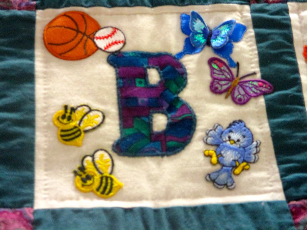 """The charming """"bs"""" in the B block of this custom alphabet handmade quilt. (Photo by Charlotte Ekker Wiggins)"""