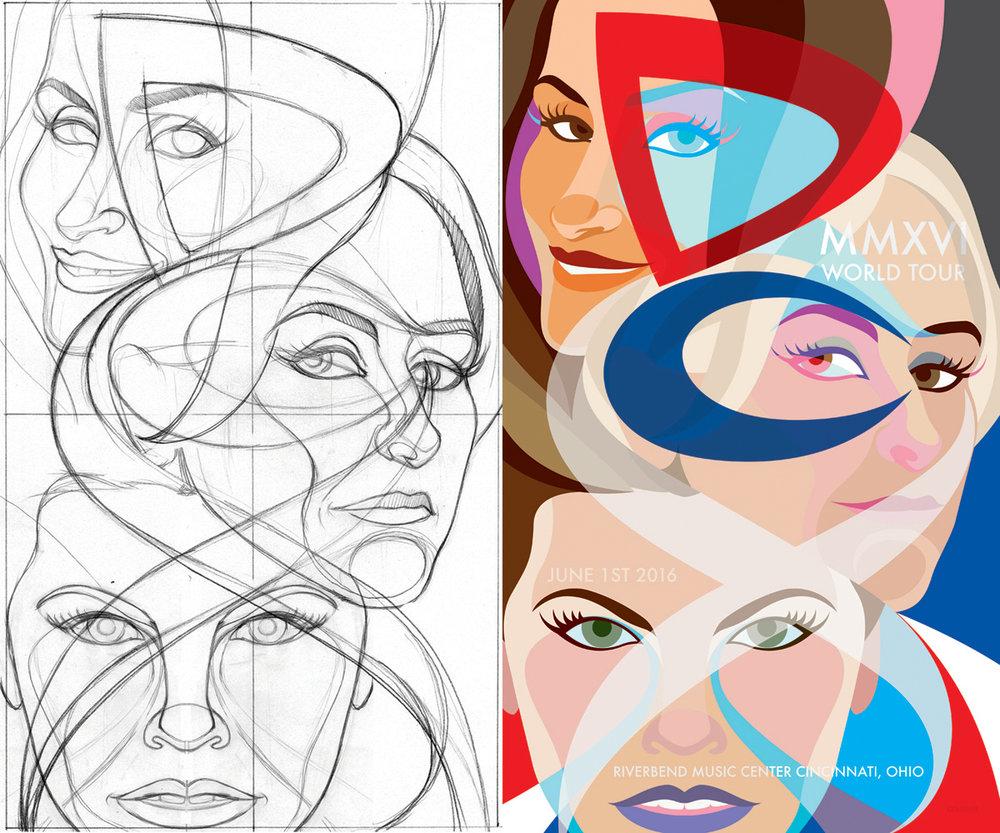 DCX Tour Poster Sketch & Design.