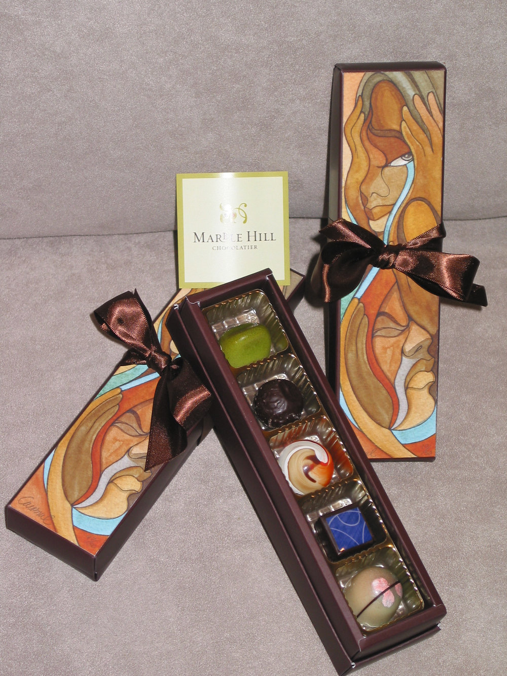 Chocolate Box Package Design w/chocolates.