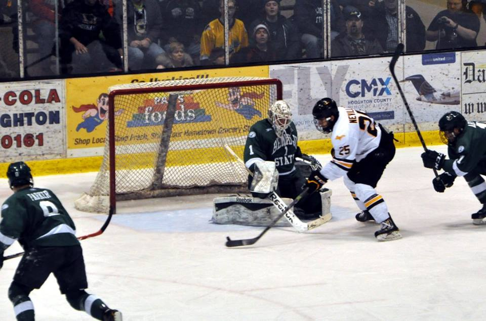 Mike Neville attacks the wide-open stick side of BSU goalie Mike Bitzer during last season's Winter Carnival Series on Feb 6th. Photo credit Bob Gilreath.