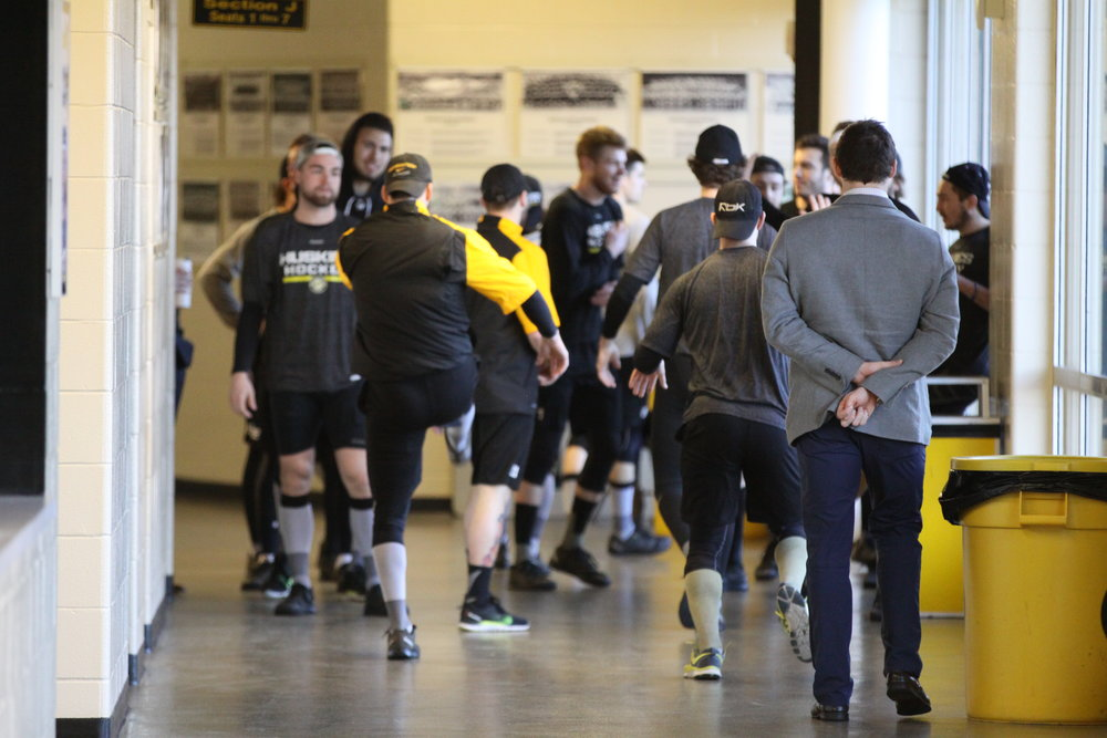 Michigan Tech players warm up on the concourse before facing off against University of Alaska-Fairbanks last season (Photo credit: Ryan Johnson).